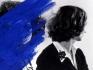 Helena Almeida Pintura Habitada, 1975. B/W photograph with blue acrylic paint, 18 x 22.5 in.