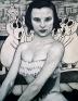 Jenny Scobel She Heard the News, 1998. Graphite, oil and wax on preparedwooden panel, 36 x 28 in.