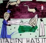 Rose Wylie, Italien Hats, 2003. Oil on canvas, 68 x 72 in.