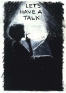Adrian Piper M.B. (Let\'s Talk) #3, September 1975. Oil crayon drawingon B/W photograph, 10 x 8 in.