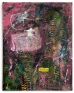 Isadora, 2012. Oil, sand, crepe paper, metal, glitter, thread, jewelry, staples, rayonand found fabr