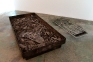 As Dad as Possible, as Dad as Beckett, 2000-2013. Iron, ashes, 79 x 39.5 x 11 in. (pictured with imp