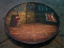 Eyeck, 2008-2013. Oil on canvas, wood, iron, brass, 57 x 57 x 7 in. (with Shahryar Hatami).