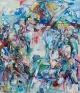 Honeymoon Island, 2010. Acrylic, pastel, spray paint on canvas, 90 x 78 in.