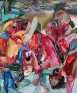 Hurlyburly, 2010. Acrylic, spray paint on canvas, 72 x 60 in.