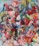 Sunken Garden, 2010. Acrylic, pastel, spray paint on canvas, 90 x 78 in.