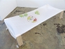 Carolin Eidner: Somewhere in Between I Have a Name  2015. Silk, silk color, wood, 118 x 60 x 4 in.
