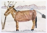 Afghan Horse Being Washed, 2014. Watercolor, colored pencil and collage on paper, 23.5 x 33.25 in.