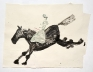 Black Horse with Goya Rider, 2013. Watercolor and collage on paper, 32 x 43.5 in.