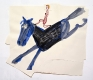 Blue Horse with Girl, 2013. Watercolor and collage on paper, 23.5 x 33 in.