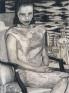 Untitled (Bird Print Dress), 2002-03. Graphite, oil and wax on preparedwooden panel, 32 x 24 in.