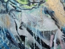 Bob (Satan), 2013. Oil, spray paint, and gift wrap on canvas, 67.5 x 90 in. (detail)