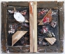Paul Doran: Night Birds, 2013. Wood, acrylic paint, fabric, screws, 12 x 14.5 in.
