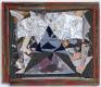Paul Doran: Falling Sky, 2013. Wood, fabric, staples, card, acryic paint, canvas, paper, tin foil, 1