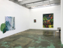 Installation view: Untitled (Greens) & Float Tank, Late June, and Fallen.