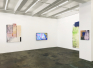 Installation view: Rose Window, Rabbit Hole, Blue Cloud, and This Is How It Looked.