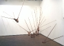 Senga Nengudi, I, 1977. Nylon mesh, sand. Dimensions variable.