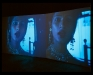 Installation view from What are You? Installation with two channel video; color, sound. 11 min.